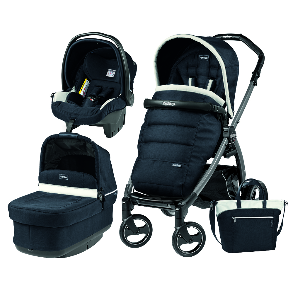 Carucior 3 In 1 Peg Perego Book Plus S Black POP-UP Elite Luxe Blue