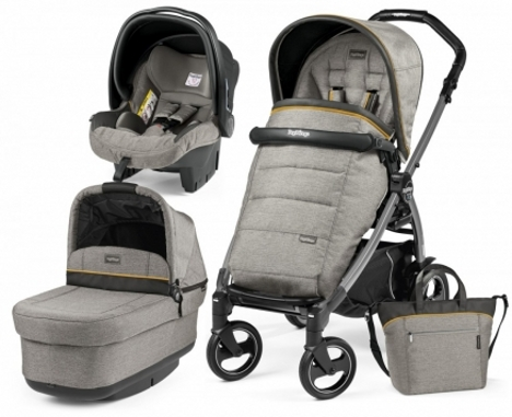 Carucior 3 In 1 Peg Perego Book Plus S Black POP-UP Elite Luxe Grey