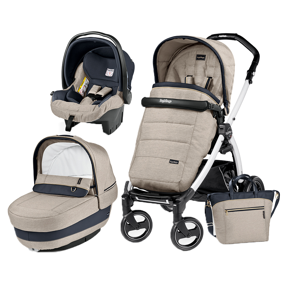 Carucior 3 In 1 Peg Perego Book Plus S BlackWhite Completo Elite Luxe Beige