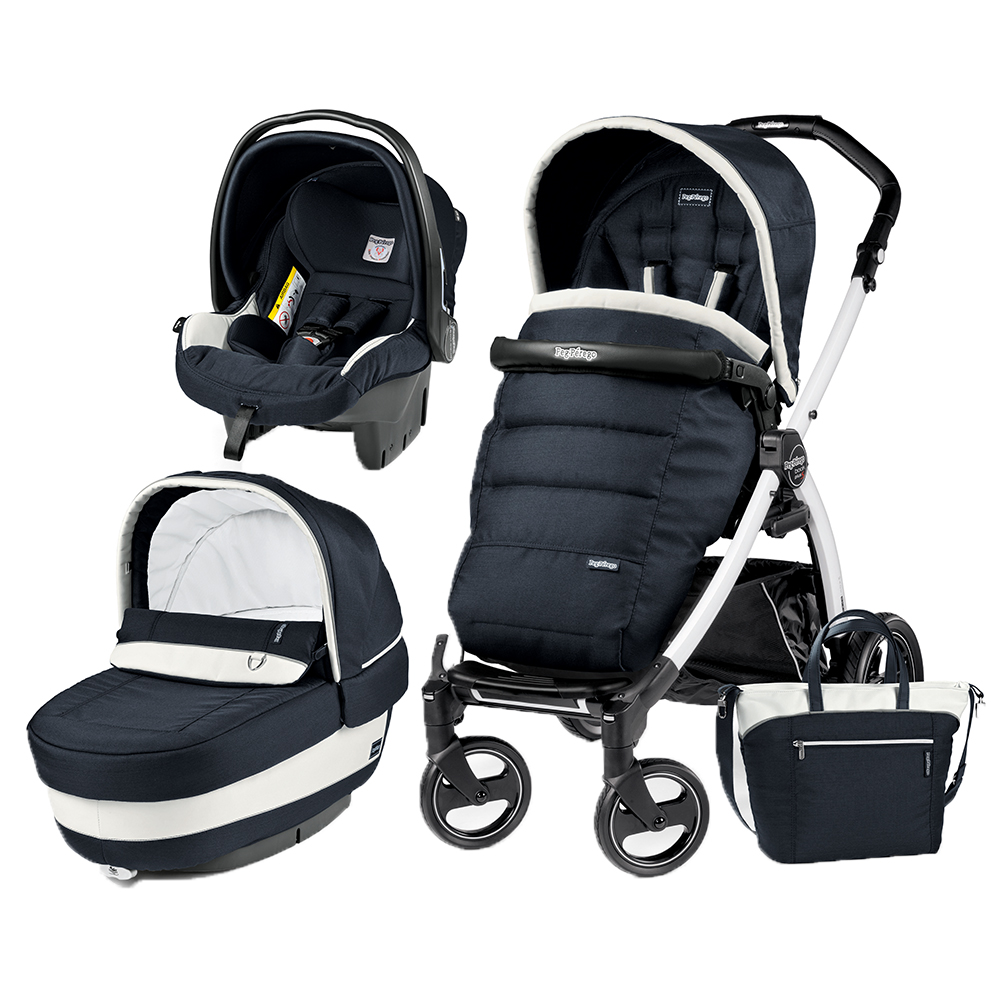 Carucior 3 In 1 Peg Perego Book Plus S BlackWhite Completo Elite Luxe Blue