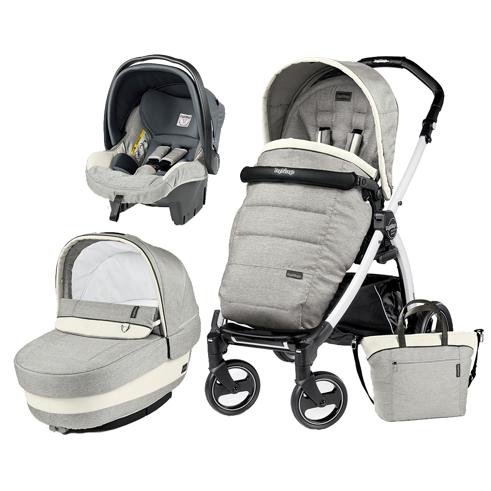 Carucior 3 In 1 Peg Perego Book Plus S BlackWhite Completo Elite Luxe Opal