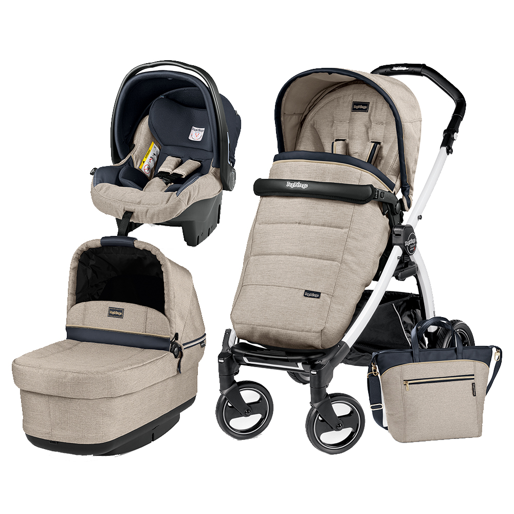 Carucior 3 In 1 Peg Perego Book Plus S BlackWhite POP-UP Elite Luxe Beige