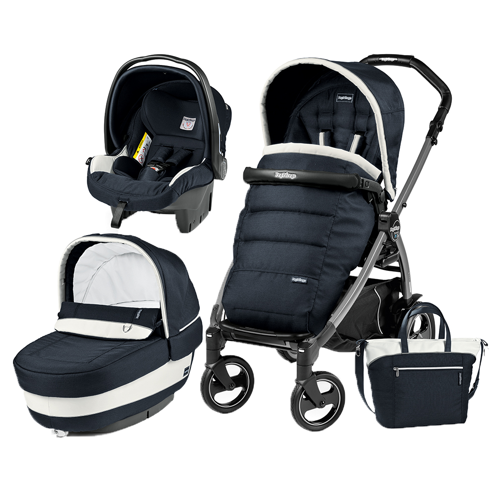 Carucior 3 in 1 Peg Perego Book Plus 51 S Black Completo Elite Luxe Blue