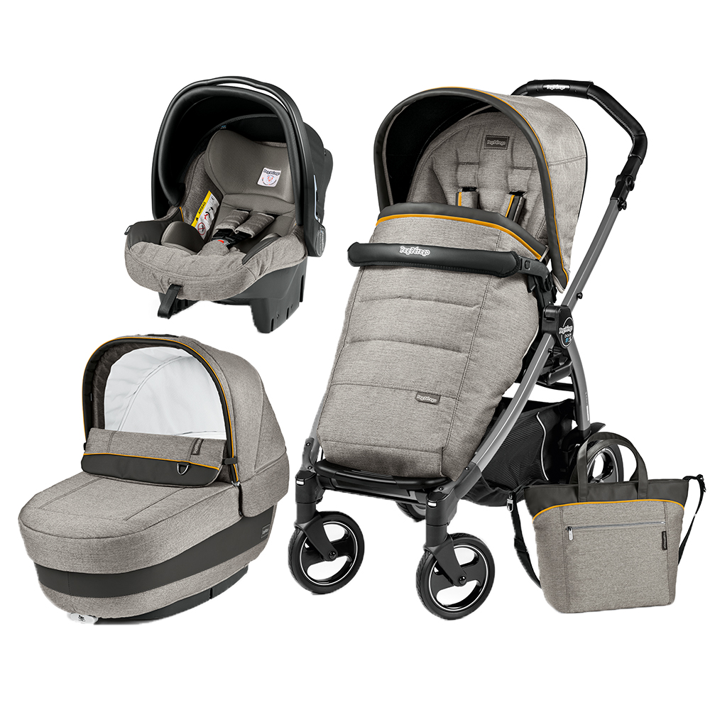 Carucior 3 in 1 Peg Perego Book Plus 51 S Black Completo Elite Luxe Grey