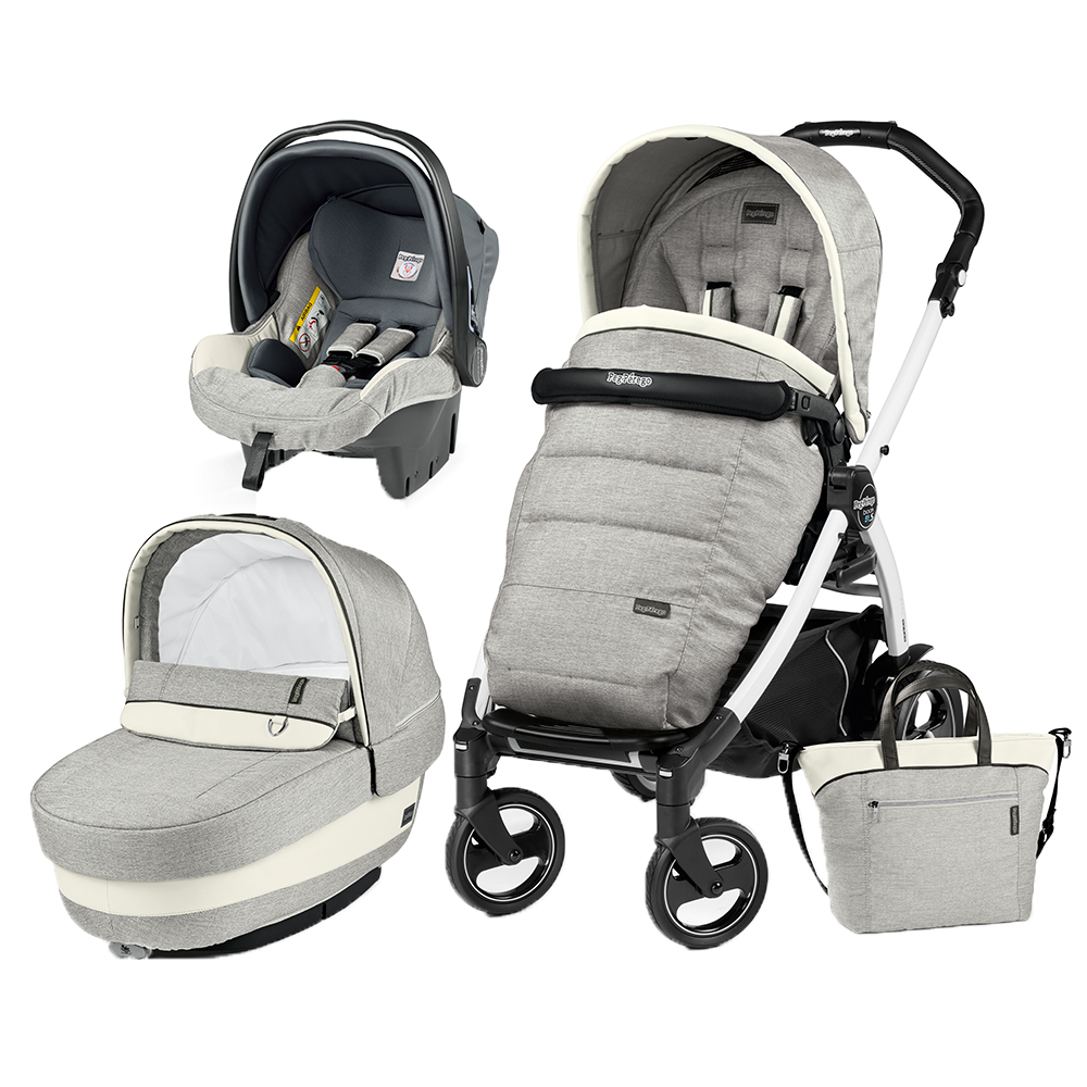 Carucior 3 in 1 Peg Perego Book Plus 51 S BlackWhite Completo Elite Luxe Opal