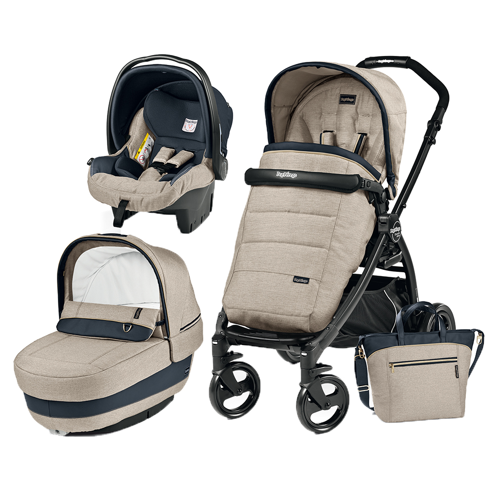 Carucior 3 in 1 Peg Perego Book Plus Black Matt Completo Elite Luxe Beige