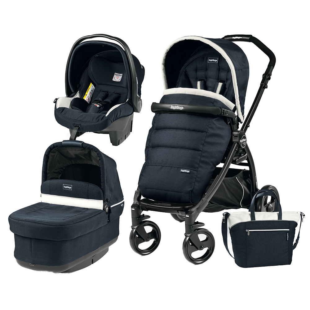 Carucior 3 in 1 Peg Perego Book Plus Black Matt POP-UP Elite Luxe Blue