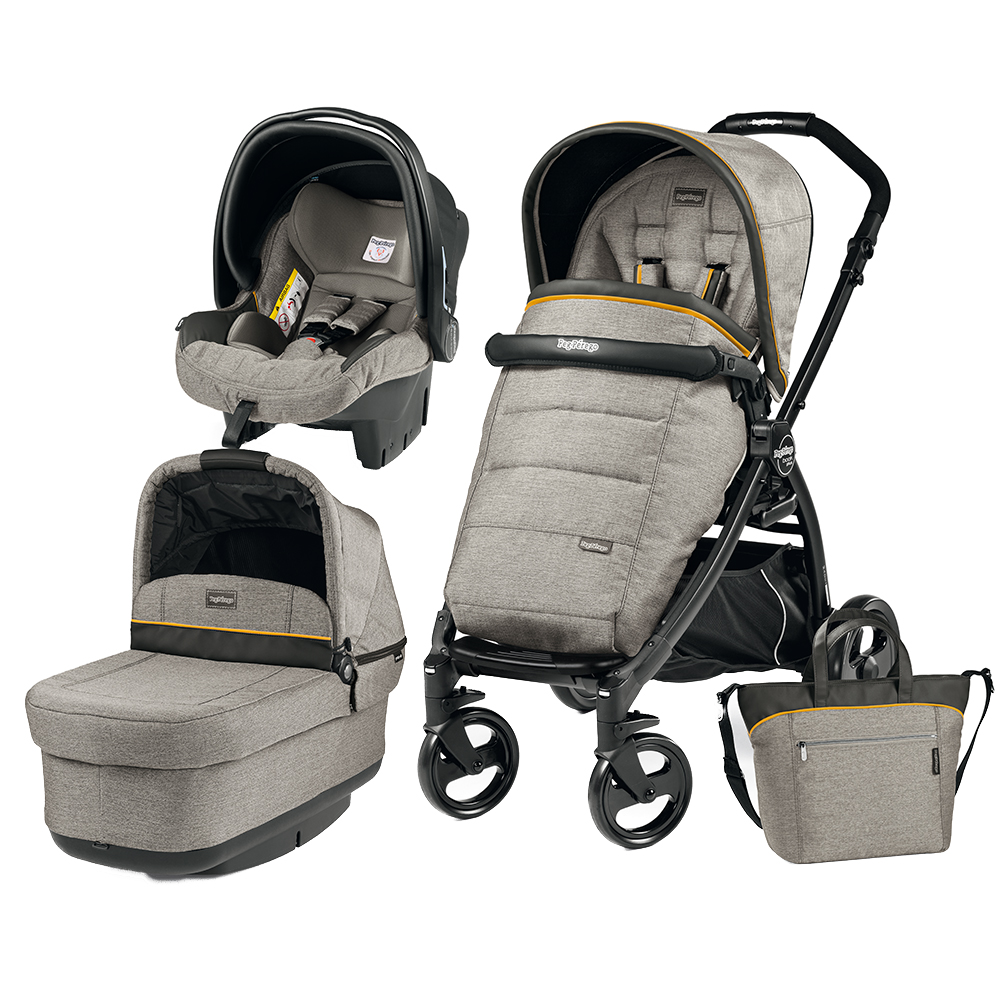 Carucior 3 in 1 Peg Perego Book Plus Black Matt POP-UP Elite Luxe Grey