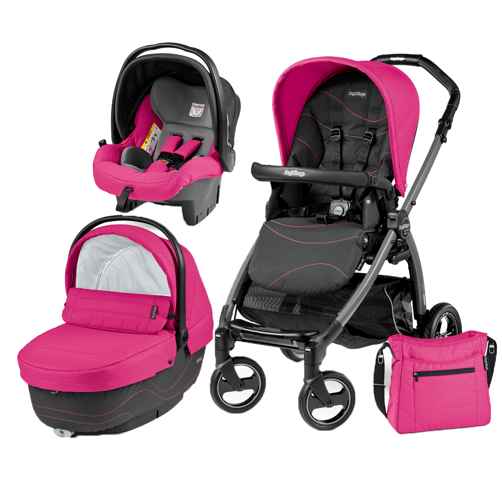 Carucior 3 in 1 Peg Perego Book Plus S Black Sportivo Bloom Bloom Pink