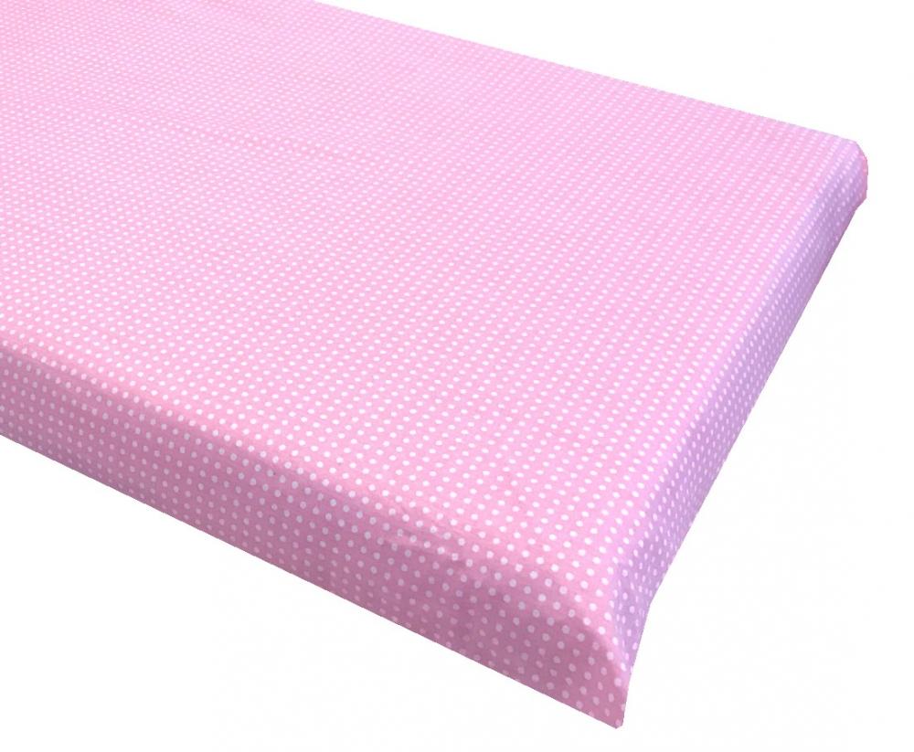 Cearsaf cu elastic roata 140x70 cm Buline albe pe roz