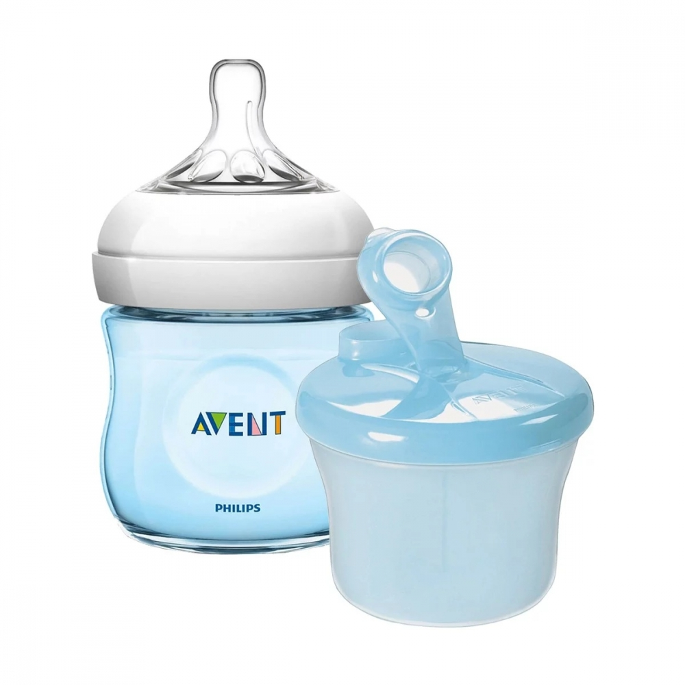 Pachet Biberon Natural 125 ml albastru + Doza pentru lapte praf Philips Avent