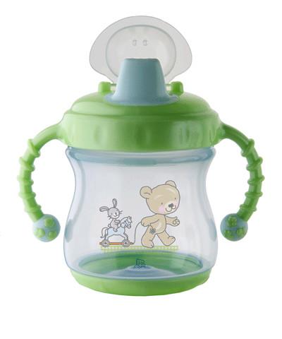 Pahar Cu Manere Si Supapa De Silicon 200ml. Blue Mintgreen Rotho-babydesign