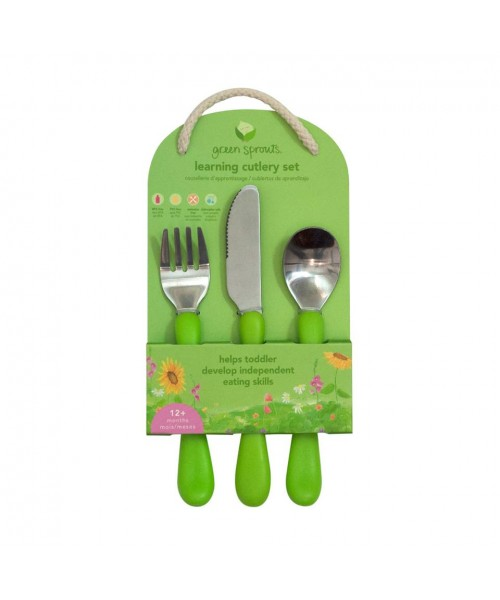 Set tacamuri de invatare Learning Cutlery Green Sprouts iPlay Pink