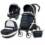 Carucior 3 In 1 Peg Perego Book Plus 51 Black&White Completo Elite Luxe Blue