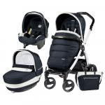 Carucior 3 In 1 Peg Perego Book Plus S Black&White Completo Elite Luxe Blue
