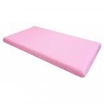 Cearsaf cu elastic pe colt 120x60 cm Buline albe pe roz