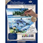 Pictura pe panza delfini