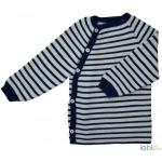 Pulover Kimono din lana merinos impletita Iobio Grey/Dark Blue 62/68