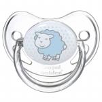 Suzeta rotunda din silicon Transparenta 0-6 luni Albastra