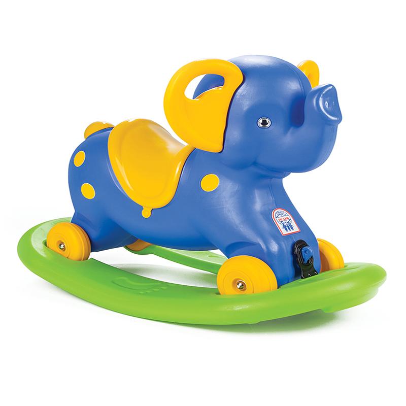 Balansoar elefant 2 in 1 cu roti Blue imagine