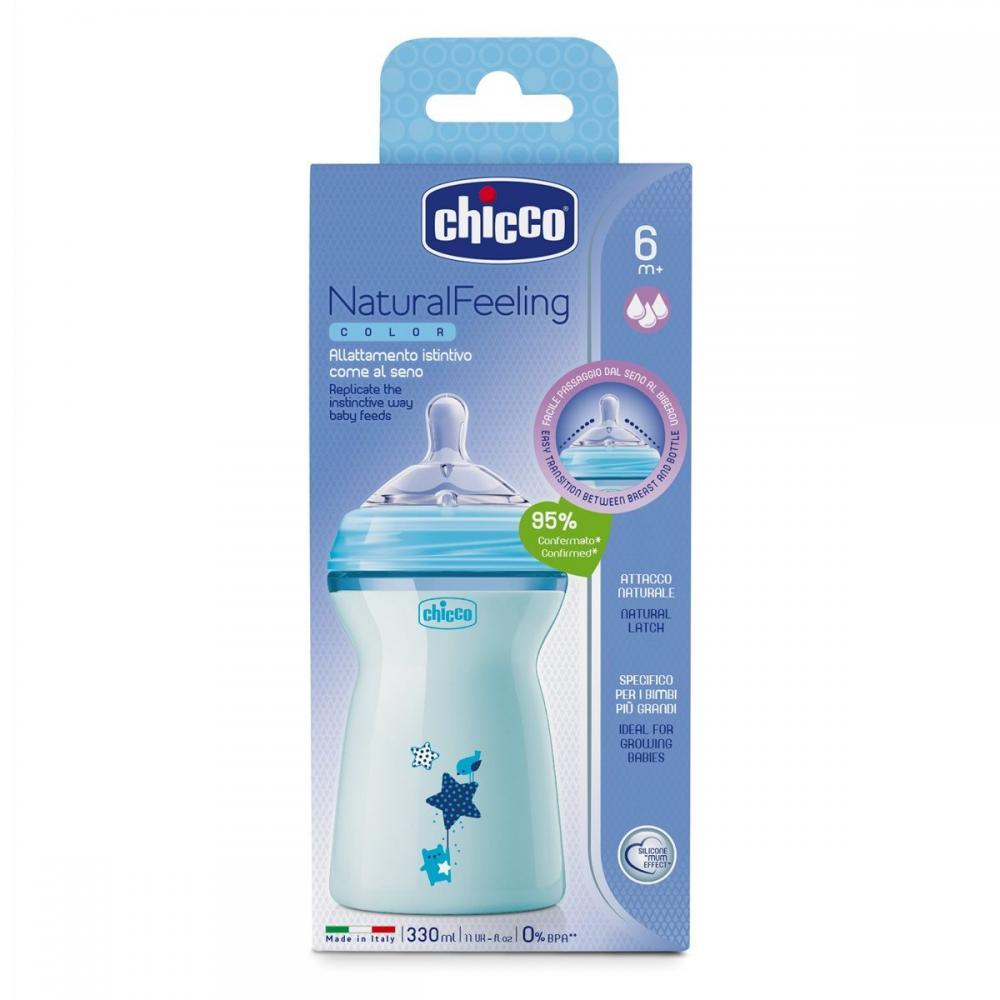 Biberon Chicco Natural Feeling bleu 330ml t.s. 6luni+ 0BPA