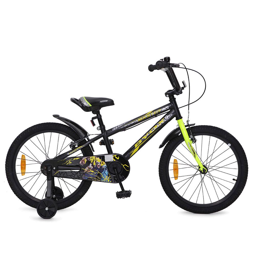 Bicicleta pentru baieti cu roti ajutatoare Byox Master Prince Black 20 inch din categoria La Plimbare de la Byox