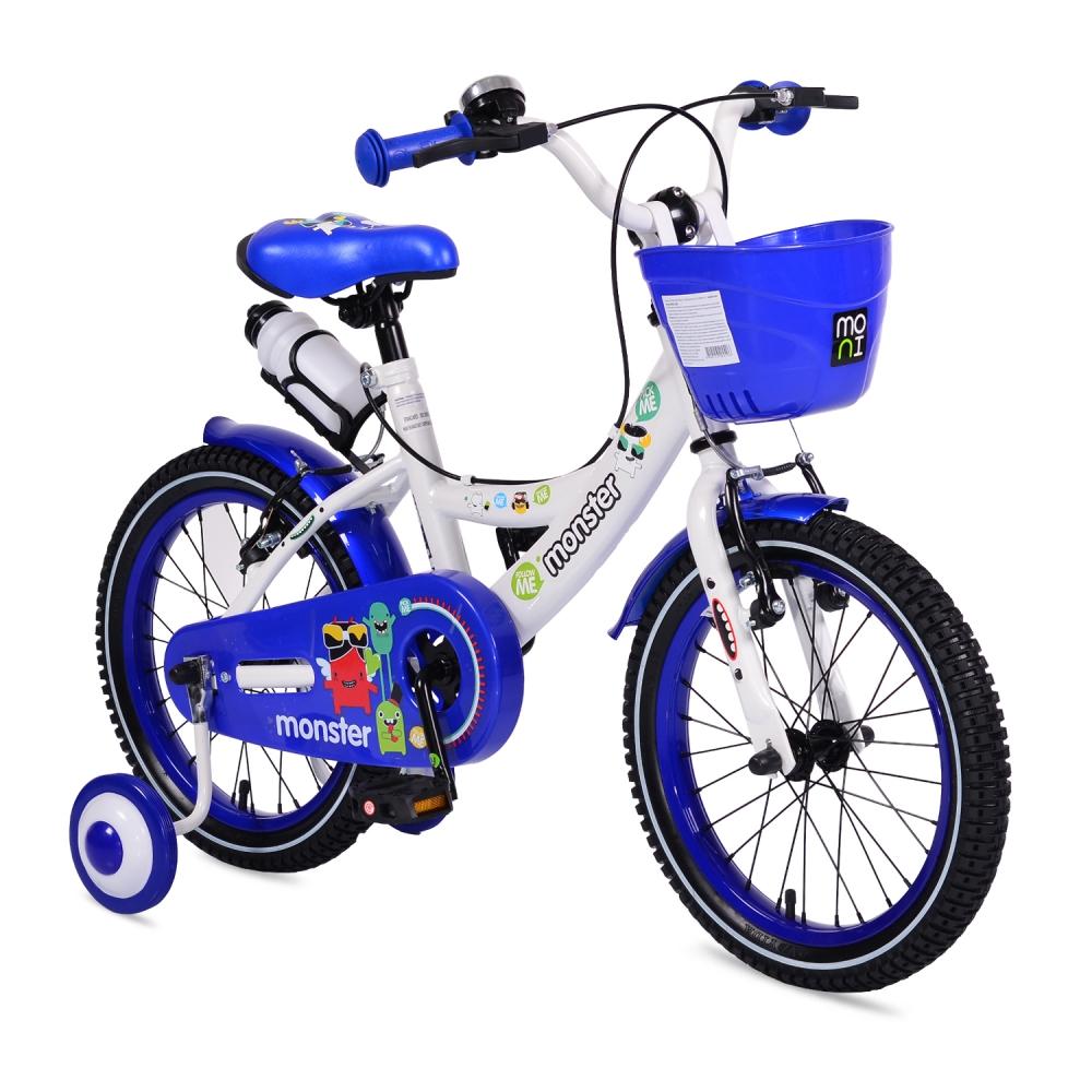 Bicicleta pentru baieti cu roti ajutatoare Little Monster Blue 20 inch