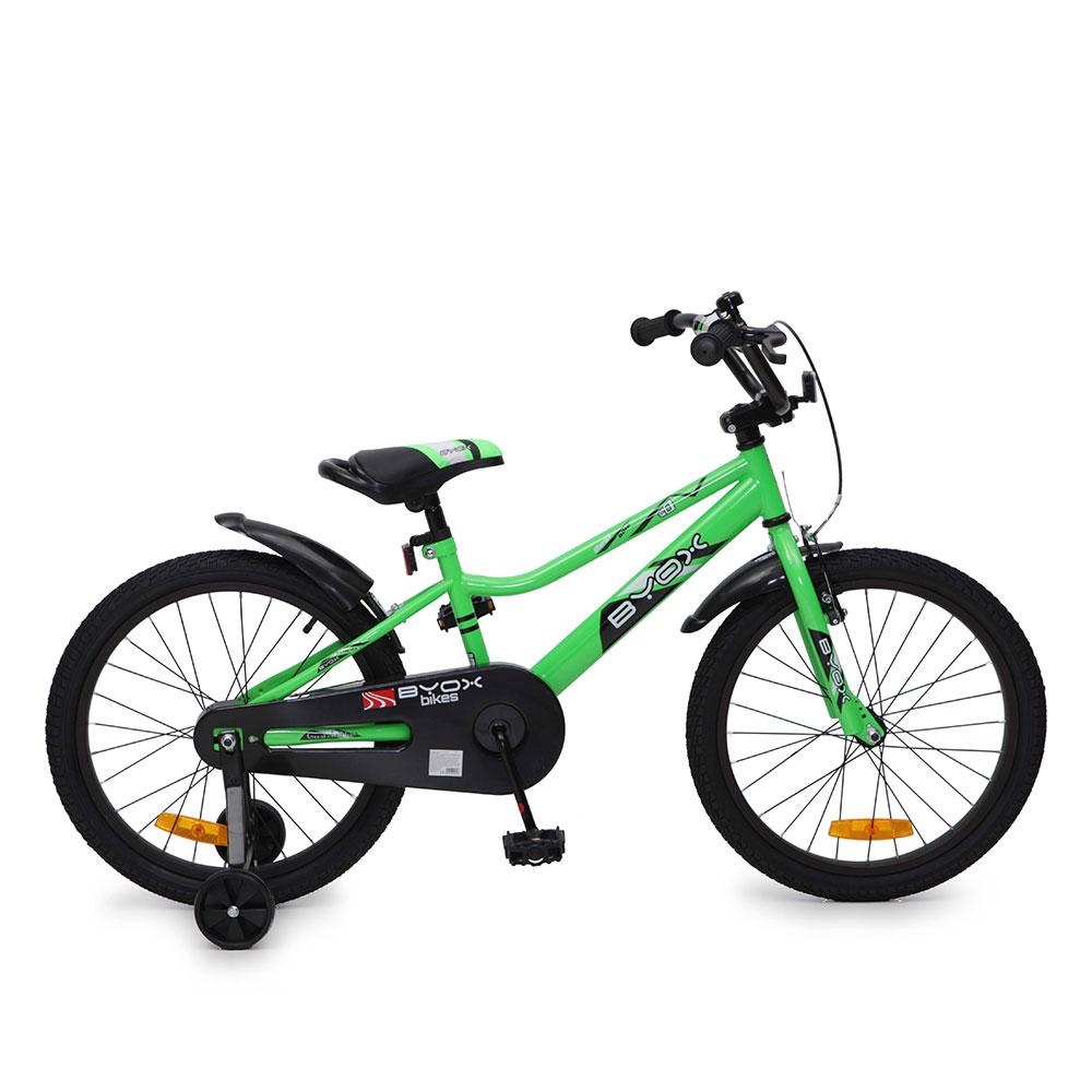 Bicicleta pentru copii cu roti ajutatoare Byox Prince Green 20 inch
