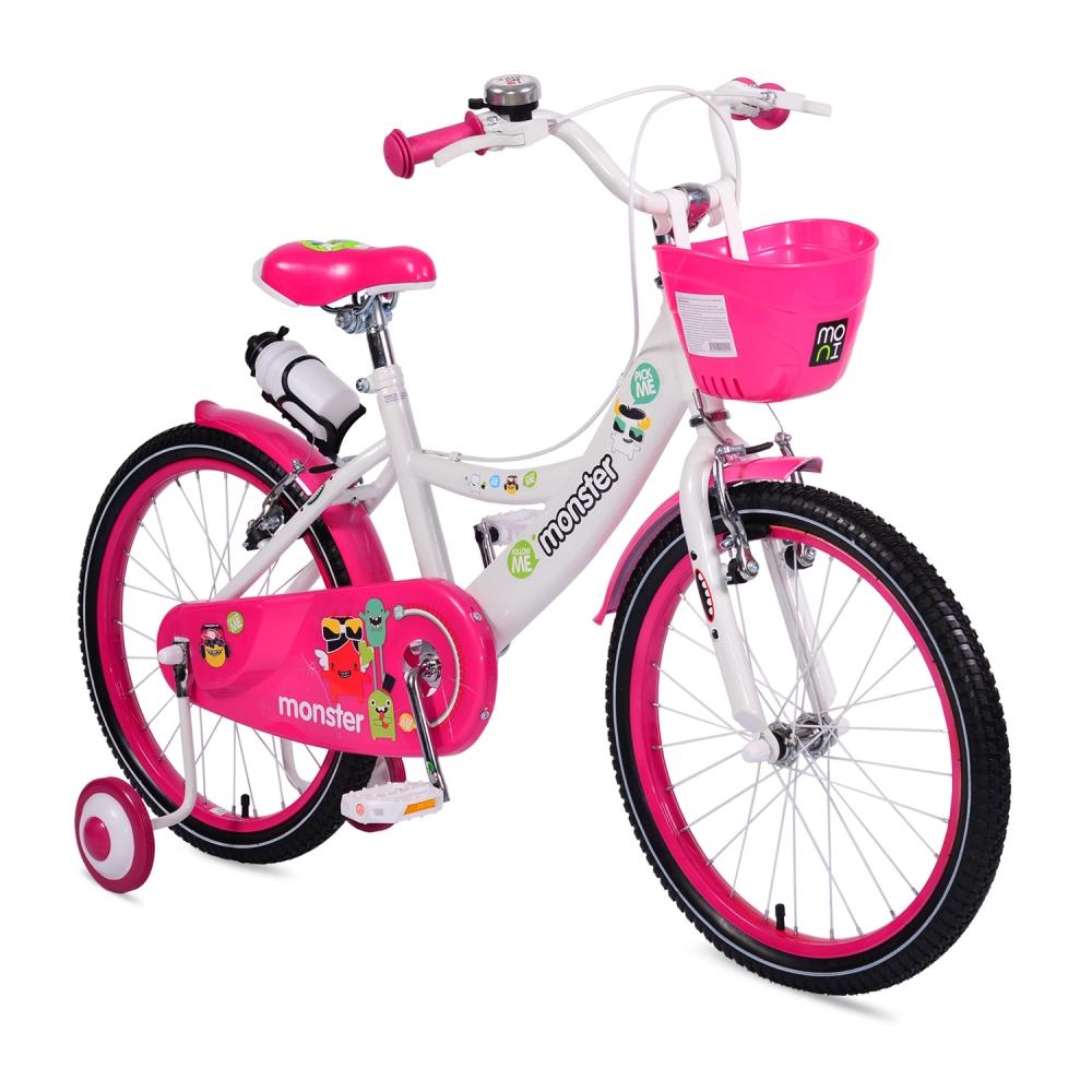 Bicicleta pentru fetite cu roti ajutatoare Little Monster Pink 20 inch