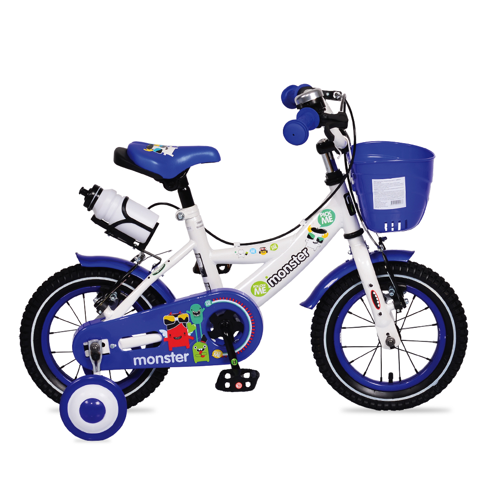 Bicicleta pentru baieti cu roti ajutatoare si cosulet 12 inch Little Monster Blue