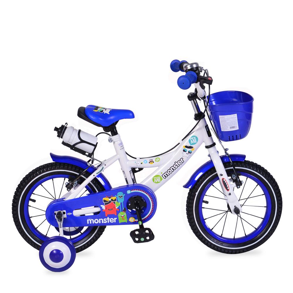 Bicicleta pentru baieti cu roti ajutatoare si cosulet 14 inch Little Monster Blue din categoria La Plimbare de la MONI