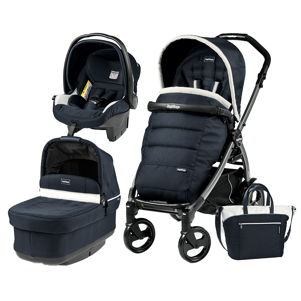 Carucior 3 In 1 Peg Perego Book Plus 51 Black POP-UP Elite Luxe Blue