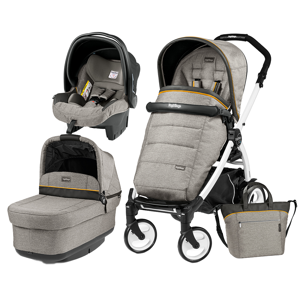 Carucior 3 In 1 Peg Perego Book Plus 51 BlackWhite POP-UP Elite Luxe Grey