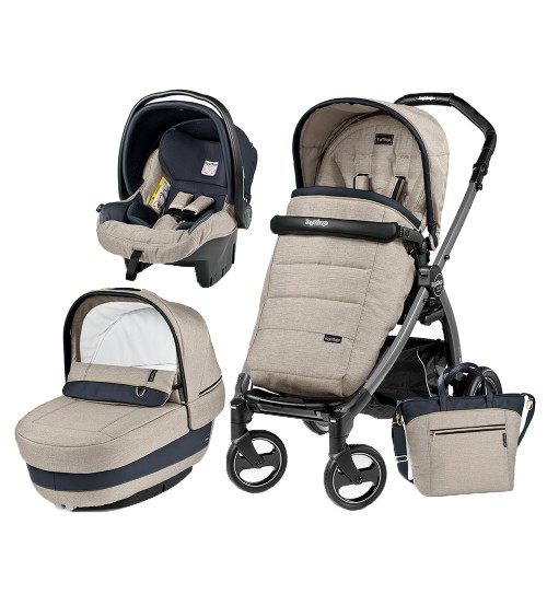 Carucior 3 In 1 Peg Perego Book Plus S Black Completo Elite Luxe Beige