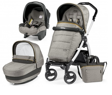 Carucior 3 In 1 Peg Perego Book Plus S BlackWhite POP-UP Elite Luxe Grey