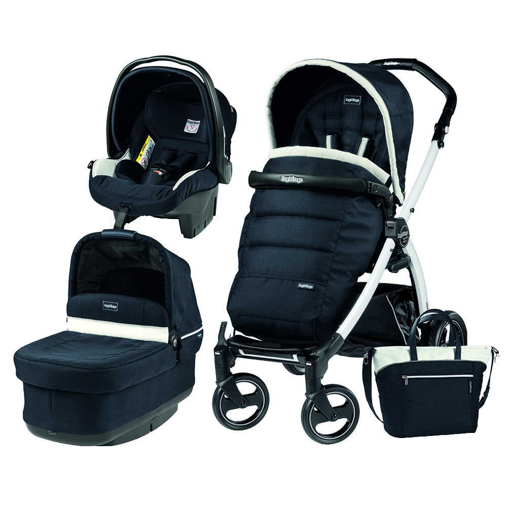 Carucior 3 In 1 Peg Perego Book Plus S BlackWhite POP-UP Elite Luxe Blue