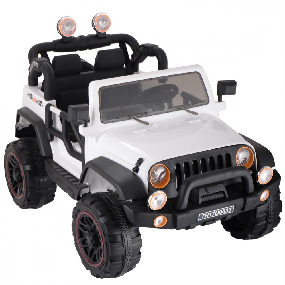 Masinuta electrica cu doua locuri Rocket Jeep Fearless White