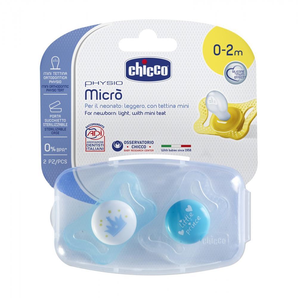 Suzeta Silicon Chicco Physio Micro 2 Buc Forma Ortodontica 0-2luni Boy