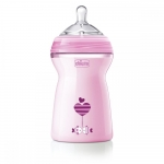 Biberon Chicco Natural Feeling roz 330ml t.s. 6luni+ 0%BPA