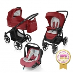 Carucior multifunctional 3 in 1 Baby Design Lupo Comfort Dark Red 2016