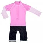 Costum de baie Pink Ocean marime 74-80 protectie UV Swimpy