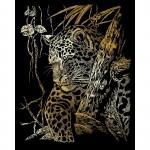 Set gravura pe folie aurie leopard