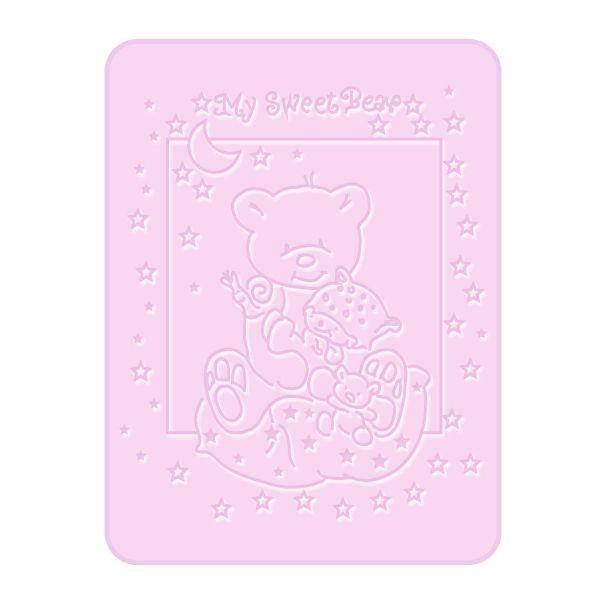Paturica Plusata 3D 80×110 cm Ursulet roz BoboBaby din categoria Camera copilului de la Bobobaby