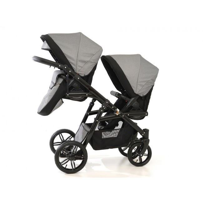 Carucior gemeni Tandem Pj Stroller Lux 2 in 1 Grey