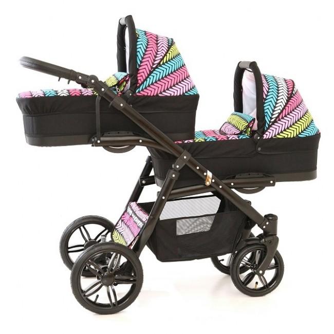 Carucior gemeni Tandem Pj Stroller Lux 2 in 1 Multicolor