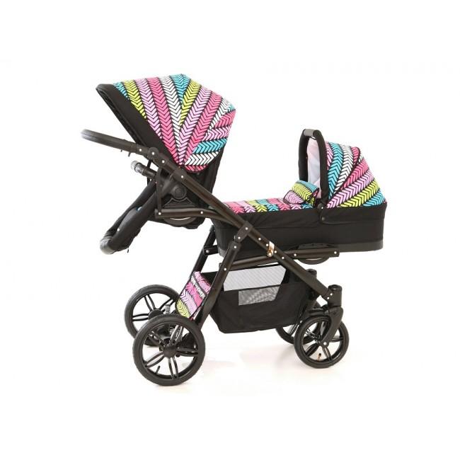 Carucior gemeni Tandem Pj Stroller Lux 2 in 1 Multicolor imagine