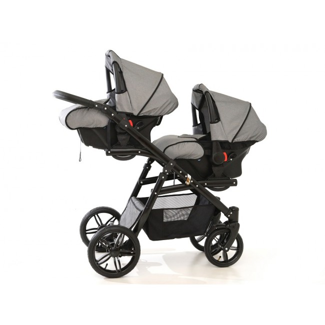 Carucior gemeni Tandem Pj Stroller Lux 3 in 1 Grey