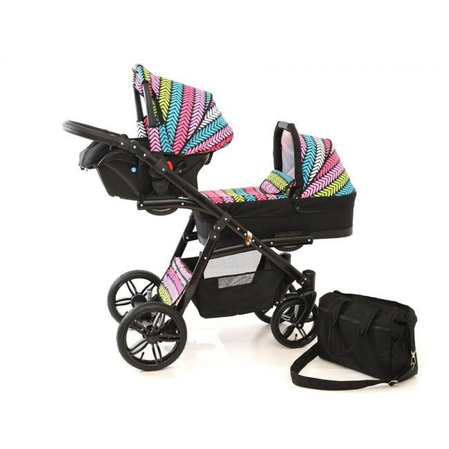 Carucior gemeni Tandem Pj Stroller Lux 3 in 1 Multicolor imagine