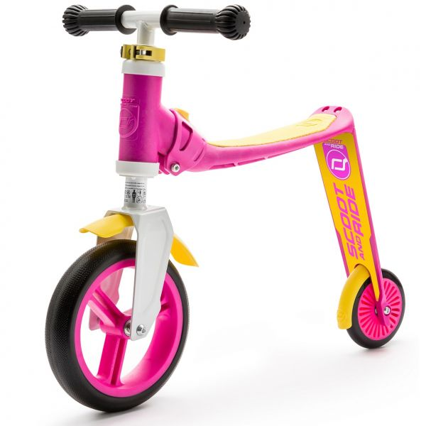 Trotineta 2 in 1 Scoot Ride HighwayBaby 1-4 ani Pink Yellow
