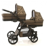 Carucior gemeni Pj Stroller Lux 3 in 1 Brown